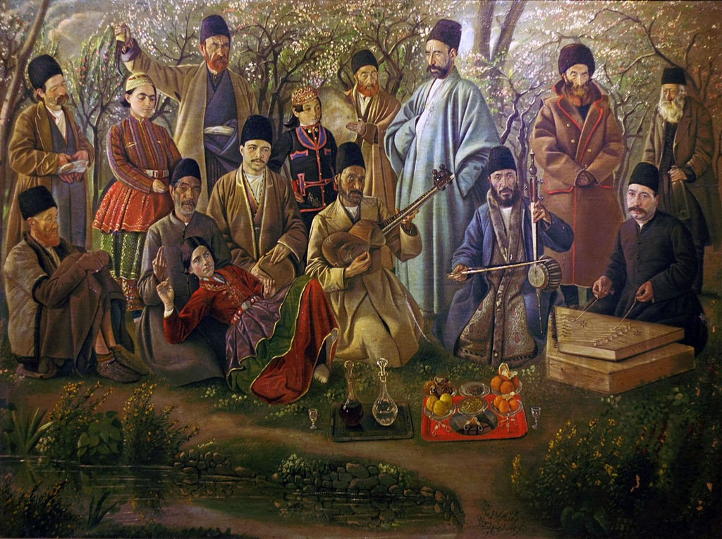 Groupe de musique iranien sous le règne de Naser al-Din Shâh (1886) - peinture de Kamal-ol-molk.