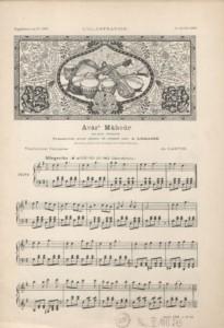La partition d'Avâz-e Mâhour, pièce écrite par Alfred Jean-Baptiste Lemaire, parue dans L'Illustration 2996.