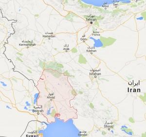 La situation géographique du Khouzestan