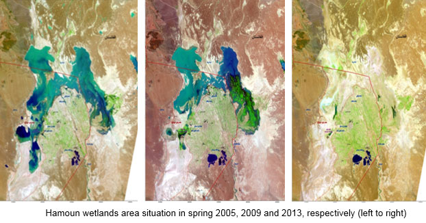 Les marécages de la région de Hamoun en 2005, 2009 et 2013.