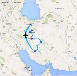 L'itinéraire en Iran