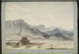 Téhéran en 1818, vue de la route d'Ispahan (aquarelle de Robert Ker Porter).