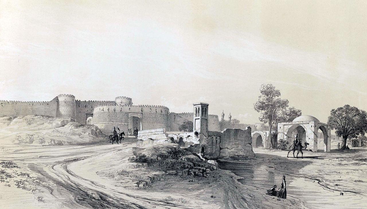 Porte de Chimrân en 1840 (Voyage en Perse, avec Flandin, éd. Gide et Baudry, 1851).