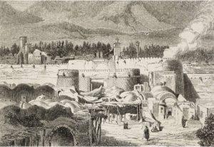 La porte Shah Abdul Azim, Téhéran, Iran, dessinée par Jules Laurens (1825-1901), Voyage en Perse (1855-1858) par Arthur de Gobineau (1816-1882), de Il Giro del mondo (Le Tour du monde), Journal of geography, travel and costumes.