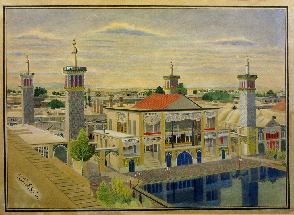 Emarat Bagdir (Le palais des tours du vent, Golestan) en 1864 (Aquarelle et gouache de Mahmoud Khan Saba)