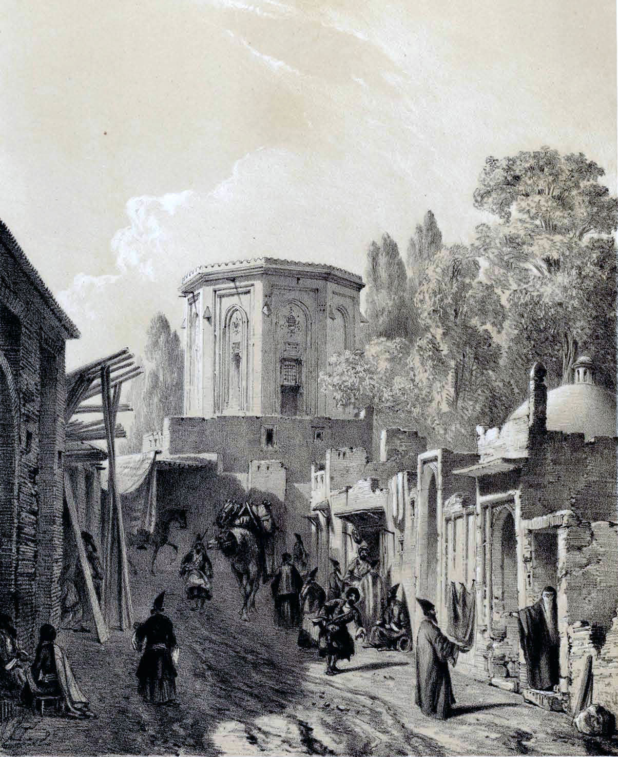 Rue de Téhéran en 1840 par Eugène Flandin