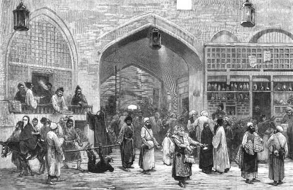 Le bazar de Téhéran, 1873 (auteur inconnu).