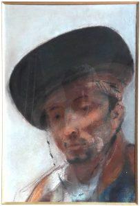 «Tête d'Espagnol», une peinture d'Henriette de Téhéran exposée lors de la 13e exposition de la Société des Beaux-arts de Nice, en 1888-89. Dimensions : 76 x 56 cm.