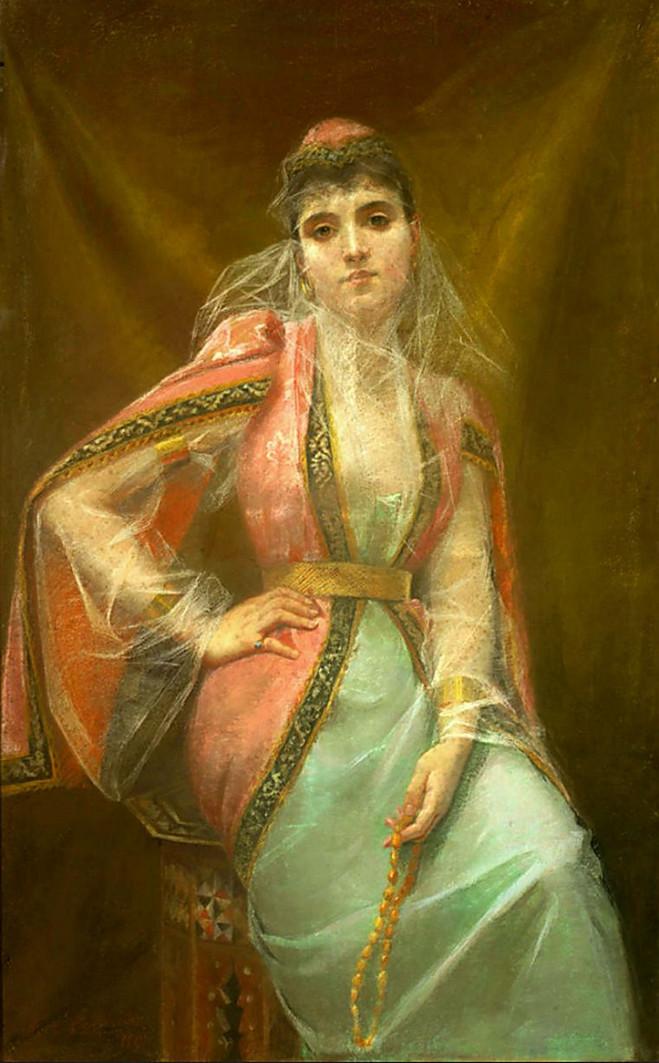 «La Fiancée du Sultan», pastel d'Henriette de Téhéran, vers 1890.