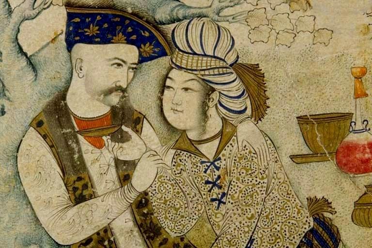 Le shâh Abbâs enlaçant un jeune page, musée du Louvre, (détail, 1627)