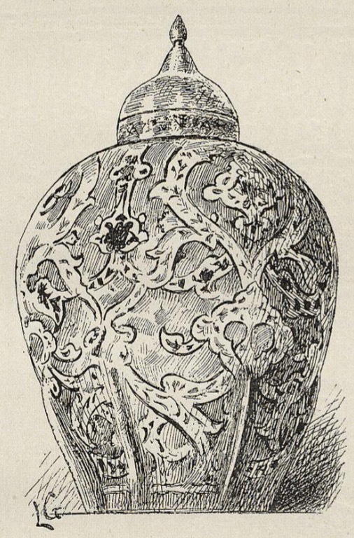 Grand vase en faïence polychrome, acheté par le South Kensington Museum. (Exposition Universelle de 1889.) — Dessin de Lucien Laurent-Gsell.