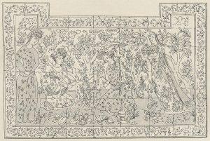 Grand panneau décoratif en faïence provenant d'un palais d'Ispahan (Dessin de J. Hugard).