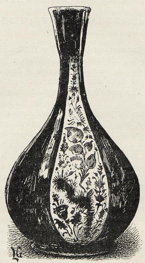 Petite bouteille en faïence à reflets métalliques. (Exposition Universelle de 1889. Dessin de Lucien Laurent-Gsell.
