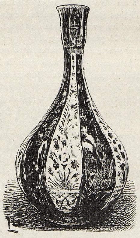 Petite bouteille en faïence émaillée à reflets métalliques. Pièce très rare. (Exposition Universelle de 1889.) Dessin de Lucien Laurent-Gsell.