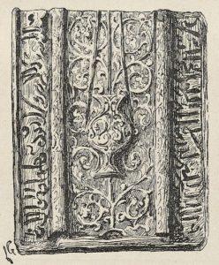 Revêtement de tombeau. Plaque de faïence émaillée. (Exposition Universelle de 1889). dessin de Lucien Laurent-Gsell.