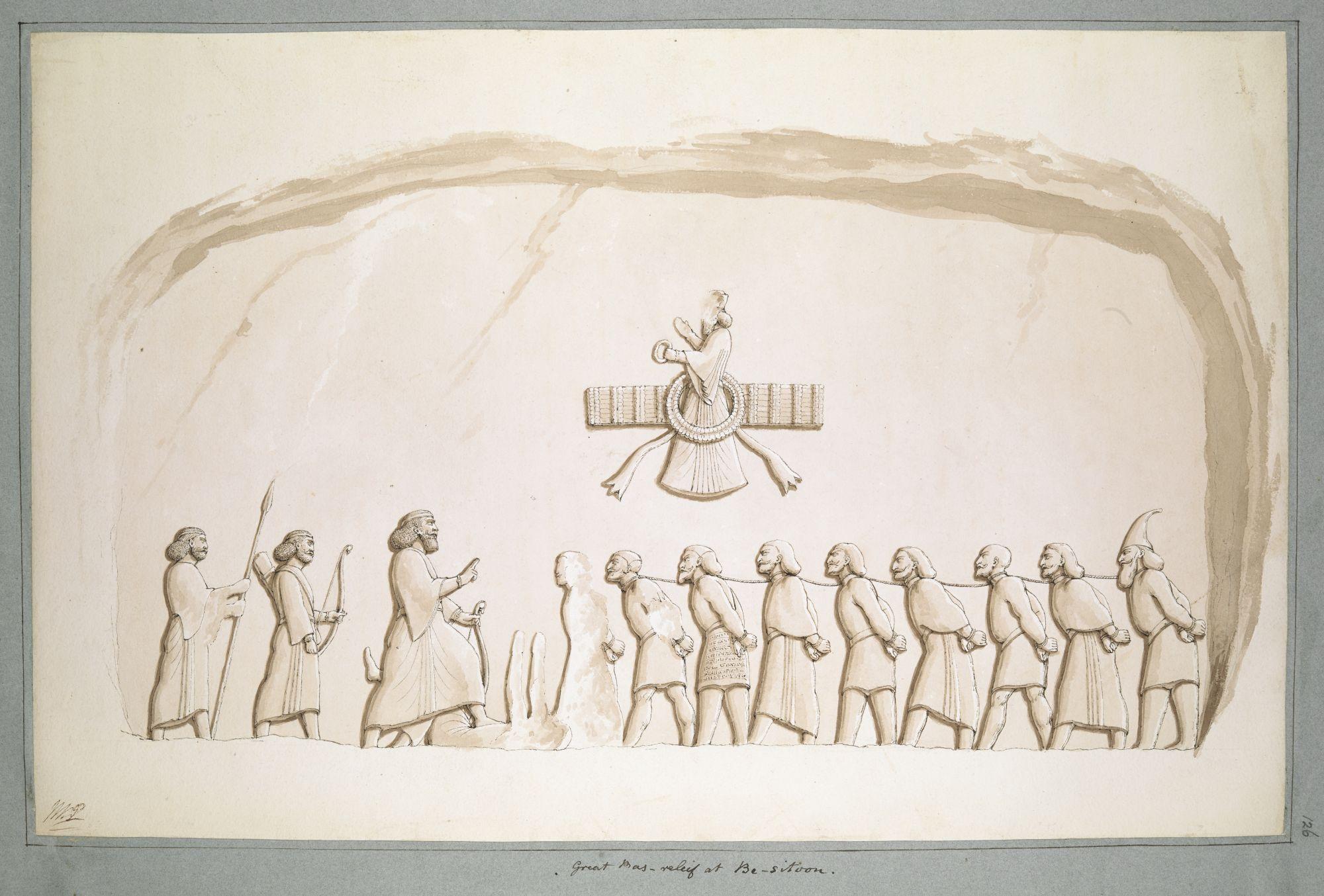 Le bas-relief de Bisitun. Ce relief a été appelé la pierre de Rosette du cunéiforme, un ancien système d'écriture. L'aquarelle de Porter ne comprend pas l'inscription importante.