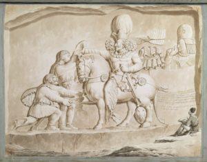 Un bas-relief sassanide à Nakshi-Roustam devant lequel Ker Porter est en train de l'esquisser. Porter se représente dessinant ce bas-relief montrant la reddition de Valérian à Shapur Ier.