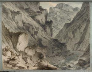 La passe de Derial sur la rivière Terek. Ce col dramatique et dangereux était la porte d'entrée de l'Europe au Moyen-Orient à travers le Caucase.