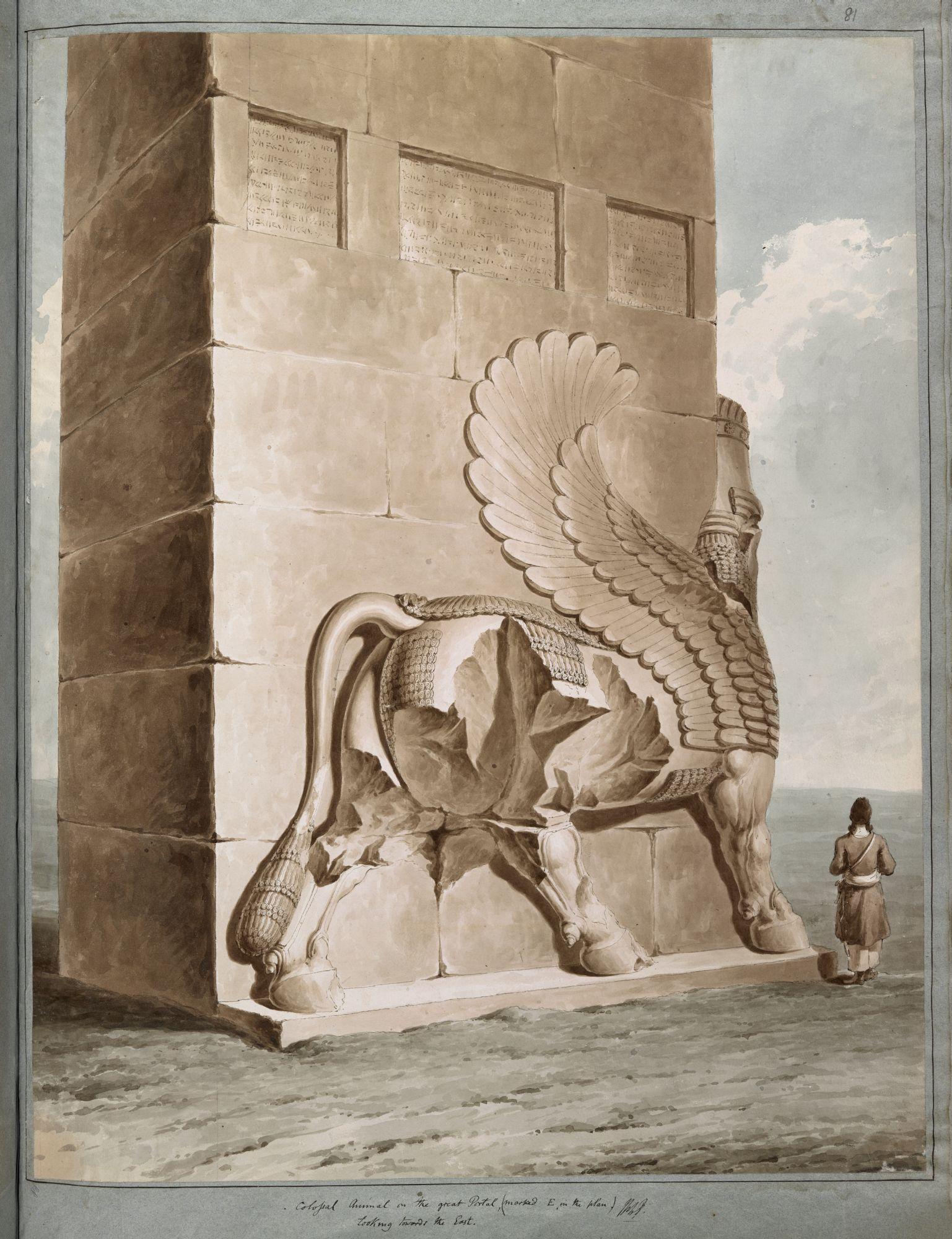 Taureau ailé à Persépolis. Le «lamassu», ou taureau ailé, était à l'origine un symbole de l'Empire assyrien, plus tard adopté par les dirigeants achéménides, comme on le voit ici dans les propylées de Persépolis.