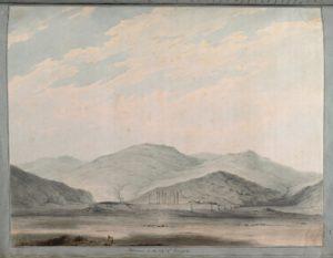 Un panorama des ruines de Persépolis. La grande cité-palais de l'empire achéménide n'avait pas encore été entièrement fouillée lorsque Porter visita le site en 1818.