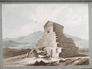 Tombe de Cyrus le Grand. Sir Robert Ker Porter a identifié cette ziggourat à Pasargadas comme étant le mausolée de Cyrus le Grand.