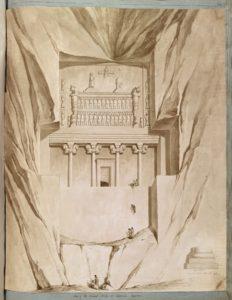 Une tombe achéménide à Nakshi-Roustam. Cette aquarelle représente la tombe de Darius Ier, l'un des quatre rois achéménides enterrés à Naqsh-e Rustam. La tombe est taillée sur la face du rocher.