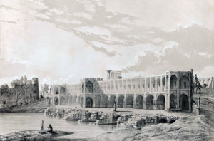 Le pont Khaju en 1840.