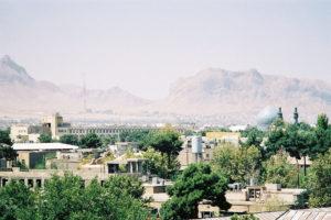 Une partie de la ville d'Ispahan vue depuis le toit du Palais d'Ali Qapu.